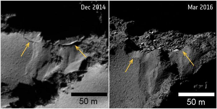 Les différents changements très rapides sur la comète 67P - Crédit : ESA/Rosetta/MPS for OSIRIS Team MPS/UPD/LAM/IAA/SSO/INTA/UPM/DASP/IDA